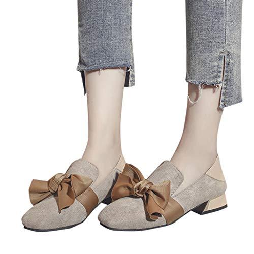 Mymyguoe Damen Schleife Pumps Segelschuhe Mädchen Gute Qualität Schuhe Elegante Abendschuhe Flach Mund Arbeit Schuhe Wildleder Quadratische Fersenschuhe Party Hochzeit Schuhe