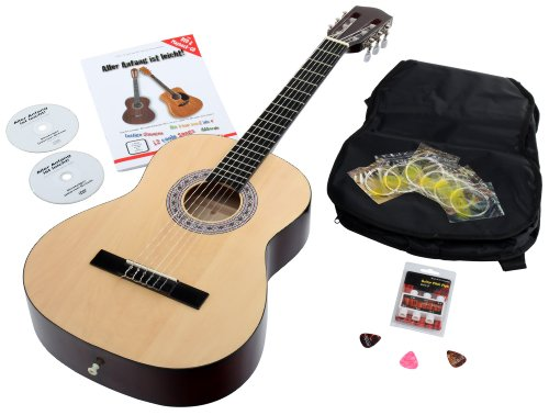 Calida Benita CB78NSET - Set de guitarra Set 7/8 con accesorios, color natural