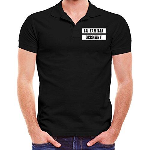 Männer und Herren POLO Shirt La Familia WORLDWIDE (mit Rückendruck) Schwarz
