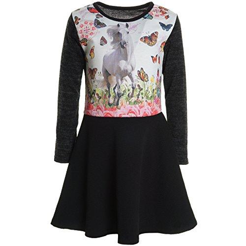 bezlit-robe-chemise-imprime-cachemire-col-rond-manches-longues-fille-noir-6-ans