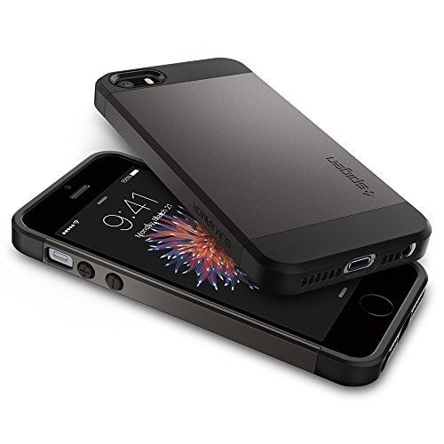iPhone SE Hülle, Spigen® iPhone 5S/5/SE Hülle [Slim Armor] Dual-Layer Schutz [Dunkelblau] Luftpolster-Technologie an den Kanten / 2-teiliges Case Schutzhülle für iPhone SE, iPhone 5S, iPhone 5 - Metal Slim Armor - Gunmetal