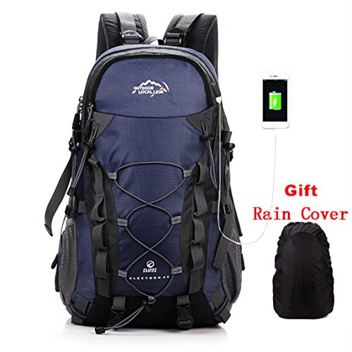 3f3c334f9a56 Trekking Rucksack,40l Outdoor Sports Camping Hiking Waterproof Backpack  Mountaineering Bag for Traveling with Rain Cover Navy Blue