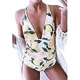 Zolimx 2019 Costume,Costume da Bagno Intero Donna Costume Intero Allacciato alla Nuca Donna Donna Swimwear Un Pezzo Costumi da Bagno-Costume da Bagno Estate Frutta Arancione Stampa