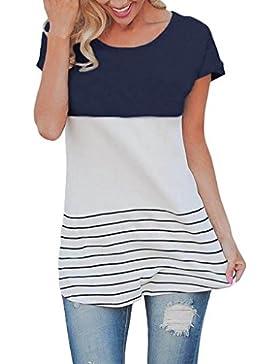 Tongshi Mujeres camisa de manga corta rayas empalme de encaje blusa casual Tops Tops camiseta