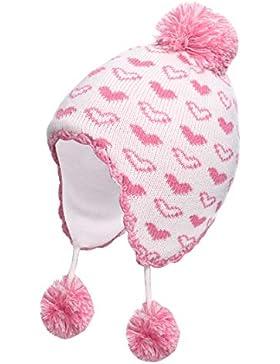 iisport Mädchen Mütze Baby Strickmütze Wintermütze mit Bommel, Gefüttert