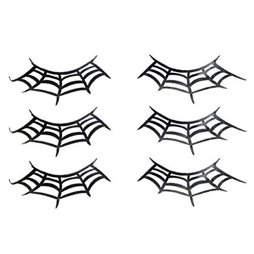 Beaupretty 3 paar falsche wimpern spinnennetz krone halloween kostüm phantasie mode make-up kunst peitsche für halloween karneval cosplay theme party prop - Permanente Wimpernkleber