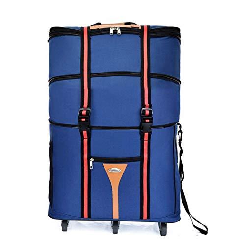 ZXY 3 Stockwerke hoch Reisetasche,Wasserdicht Erweiterbar Rollenreisetasche 60L,Blau