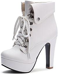 DYF Corta la mujer botas zapatos de tacón alto PU Correa grande del tamaño de tabla impermeable
