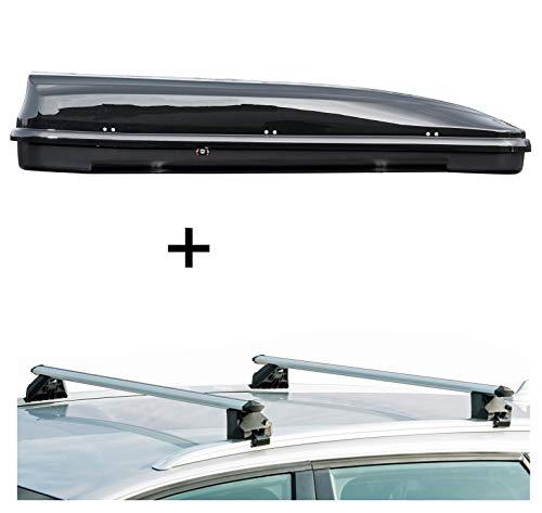 Dachbox VDPFL460 460Ltr schwarz glänzend + Dachträger CRV107A kompatibel mit Audi A3 Sportback (8P) (5 Türer) 2004-2013
