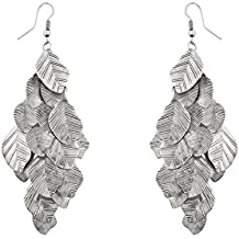 Lux Accessories Boho Burnish Silver Casted Leaves Fish Hook Chandelier Earrings