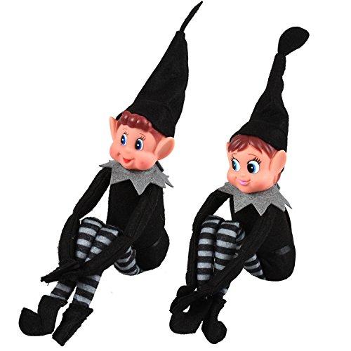 ASAB Weihnachten Naughty Helper Elf Stil Neuheit Weihnachts Kid Plüsch bewegliche Puppe Junge Mädchen Blue Eye Figur Schwarz Grau Kostüm Outfit Junge und Mädchen