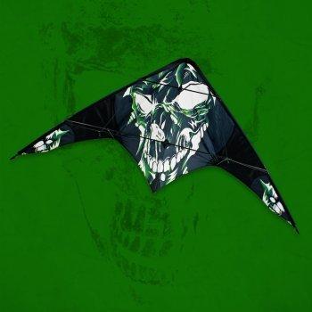 CIM Lenkdrachen - POWER HAWK Skull - für leichten bis kräftigen Wind - Abmessung: 155x75cm - inkl. Steuerleinen auf Winder mit Schlaufen (Skull)