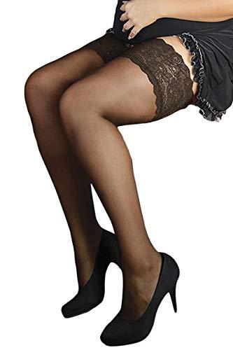 Schwarze halterlose Plus Size Strümpfe mit Spitze elastisch XXL Dessous Strümpfe Größe: Gr. 5 - 2
