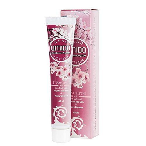 UMIDO Hand-Lotion 45 ml Organic Rice Milk & Cherry Blossom - Handcreme – Pflege-Creme – Lotion – Hautpflege - 1 x 45 ml (1.)