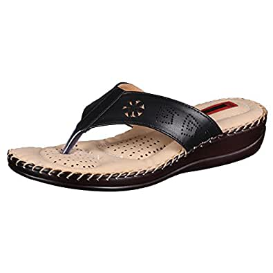 1 WALK Comfortable DR Sole Women-Flats/Sandals/Fancy WEAR/Party WEAR/Original/Slippers/Casual Footwear-Black@MP-DR100B-36