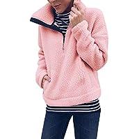 Fleecepullover Damen Rovinci Frauen Winter Warm Langarm Reißverschluss am Ausschnitt Sweatshirt Pullover Tops Bluse Teddy Fleece Zipper Mantel Langarmshirt Outwear Loose Fit Jumper Elegante Pulli