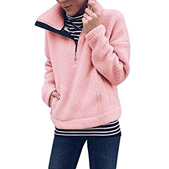 Selou Frauen Warm Winter Langarm Casual Solid Pullover