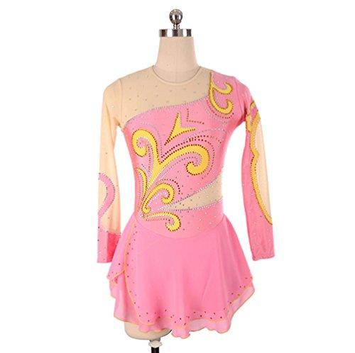 Heart&M Eiskunstlauf Kleid Frauen und Mädchen 'Ice Skating Dress Wettbewerb Leistung Spandex Quick Dry Strass Langarm Skating Wear , Pink , xxxl
