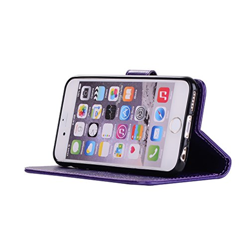 Custodia iPhone 6 Plus, ISAKEN Custodia iPhone 6S Plus, iPhone 6 Plus Flip Cover con Strap, Elegante 2 in 1 Custodia in Sintetica Ecopelle Sbalzato PU Pelle Protettiva Portafoglio Case Cover per Apple Ragazza: viola