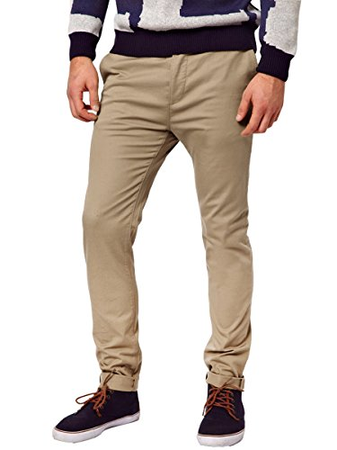 Italy Morn Uomo Uomini Chino pantaloni kaki misura sottile pantaloni in tessuto twill di cotone elasticizzato (M, Cachi)