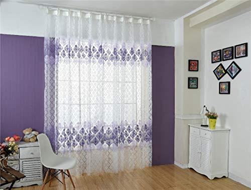 Aooword-home Vorhang drapieren gemusterte für Schlafzimmer, Wohnzimmer, Druck Blumen Easy Care Moderate hauptdekor Rod-Taschen energieeinsparung, 1 Panels, 39x79inch Lila -