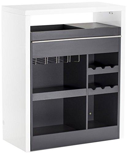 Soliving Drink Bar Laqué/Melamine, MDF, Blanc/Gris, 90 x 45 x 110 cm