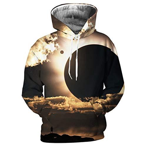 Frühling Männer Hoodies Langarm Pullover Mit Kapuze Sweatshirts 3D Print Sky Planet Streetwear Plus Größe Lässige Tops Photo Color M