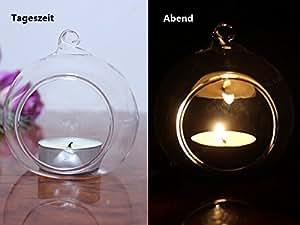 tinxi® Transparent Boule en verre Bougeoir Photophore Bougeoir avec hängeöse