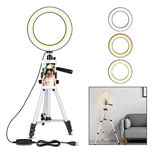 Perfuw 20cm Selfie Ring Light avec Trépied et Support de Téléphone pour la Vidéo Youtube/Maquillage/Diffusion en Continu, Dimmable Appareil Photo à LED Lumière Anneau avec 11 Niveaux de Luminosité