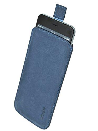 Samsung Galaxy S6 Edge + (Plus) (SM-G928F) *Ultra Slim* Original Suncase Leder Etui Tasche Handytasche Ledertasche Schutzhülle Case Hülle (mit Rückzuglasche) pebble blue-veloursleder