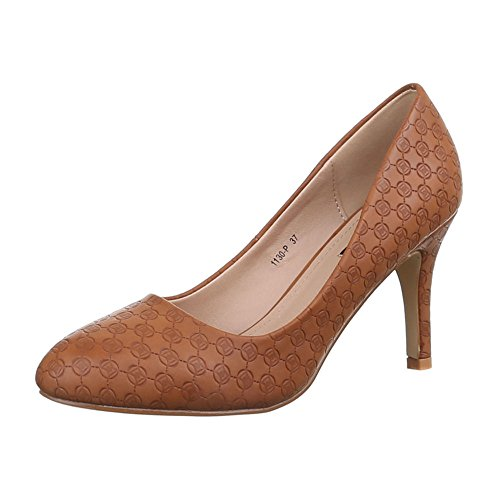 Damen Schuhe, 1130-P, PUMPS HIGH HEELS Camel