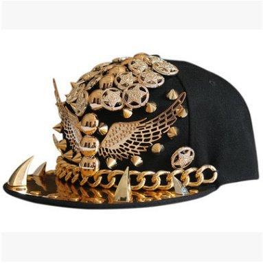 Kappen Zähne (SHENGQ Hut, Europa und die Vereinigten Staaten Punk-Hip-Hop-Nieten Baseball-Kappen Zähne Kette Flügel Hip-Hop-flachen Kappen Gezeiten Show Hut ( Color : 4 ))