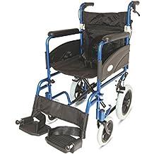 Azul 601X aluminio silla de ruedas de tránsito ligera con Attendant Handbrakes