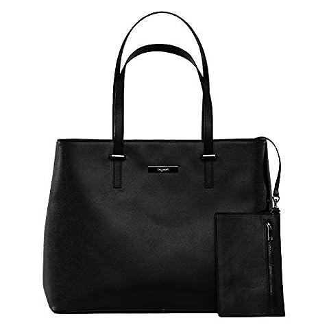 tragwert. Handtasche Damen in schwarz aus veganem Leder - Shopper Tasche LENA als Henkeltasche mit Schlüsselfinder - schick und groß