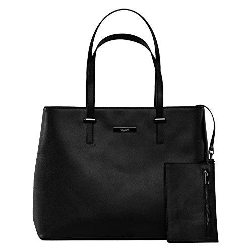 tragwert. Bolso de mano shopper bag LENA en negro - Bolso de mujer bandolera bolso de hombro en cuero vegano