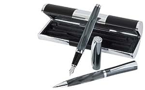 Wedo Wave 260651212 Parure stylo à bille + stylo plume en étui cadeau Noir/Chromé