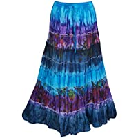 Mogul Interior Women's Maxi Skirt Tie Dye Blue Hippei Chic Long Skirts S/M