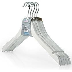 Hangerworld - Perchas De Madera Con Muescas, Color Blanco, 45 cm, 30 Unidades
