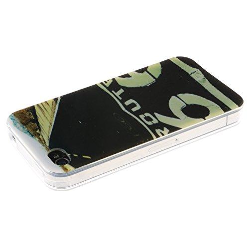iPhone 4s Coque, MOONCASE iPhone 4s Cover Case Fit Soft Silicone Housse avec Coque de Protection en TPU Etui pour iPhone 4s - DD14 Série Colore - DD19