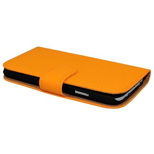 Avcibase Buchstil Flip PU Ledertasche für Apple iPhone 6 gelb Orange