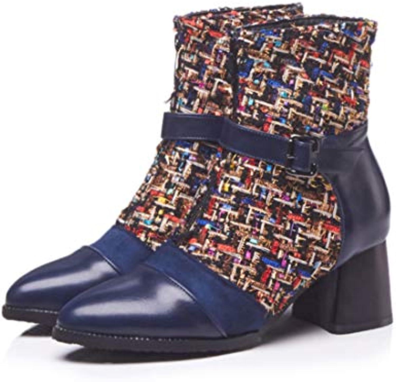 DANDANJIE Stivaletti da Donna 2018 Fall stivali Buckle Chunky Heel scarpe (Coloreee   B, Dimensione   37 EU) | Forte valore  | Maschio/Ragazze Scarpa