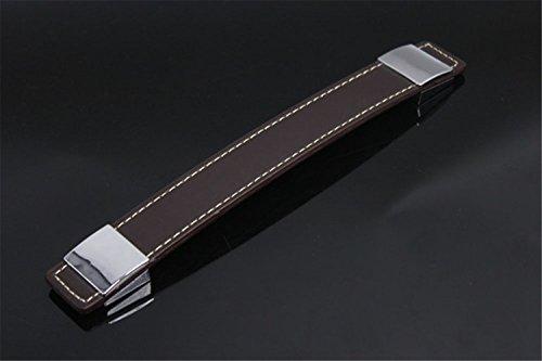 Boutons de Porte en Cuir Brun Poignée de Porte Céramique Décoration Meuble Tiroir Placard Armoire de Chambre Cuisine Maison (entraxe 192mm)