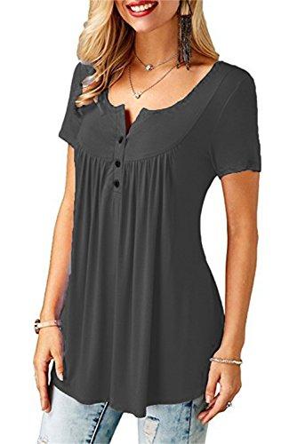 ASKSA Damen Sommer Kurzarm Oberteil Lose Bluse Shirt Sommershirt Tunika Tops (Medium, Grau)
