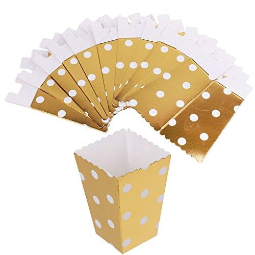 Prettyia 12st Popcorn Box / Bucket Gilt Punkt Papier Film Treat Party Nahrung / Beutel Tasche