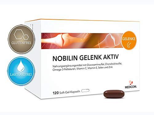 120 Kautabletten Kapseln (Nobilin Gelenk Aktiv Kapseln - Glucosaminsulfat, Chondroitinsulfat, Omega-3-Fettsäuren, Vitamin C, Vitamin E, Selen und Zink, 120 Kapseln, 2-Monatsvorrat)