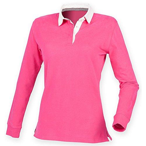 Front Row Damen Premium Rugby-Shirt / Polo-Shirt, Langarm (Large) (Kräftiges Pink)