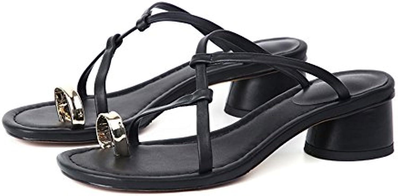 Slipper CAICOLOR Zapatillas de Tacón Grueso y Cruzadas del Cinturón Sandalias de Las Mujeres Simples Moda (Color...