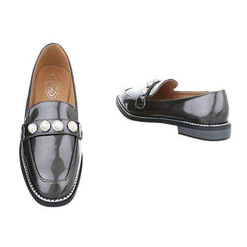 Ital-design Chaussures Femmes Mocassins Slipper Block Heel Grey