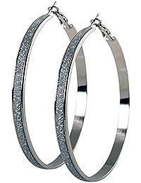 9ae9881ab214 geralin Gioielli – Pendientes Grandes Pendientes de aro plata diamante  oficial. 7 cm Fashion Pendientes