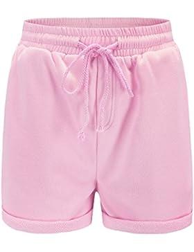 OUFour Estivo Pantaloncini Donna Shorts con Coulisse Casual Tinta Unita Hot Pants Corto Pantaloni da Spiaggia